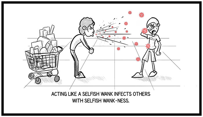 """""""The 2 Other Viruses Going Around Right Now"""": Artist Illustrates The Contagious Behaviors That People Are Falling For"""