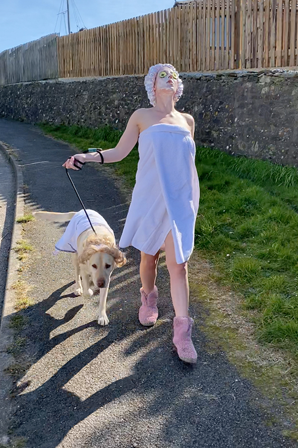 Woman Wears Bizarre Costumes While Walking Her Dog During The Quarantine And He Looks Embarrassed (8 Pics)