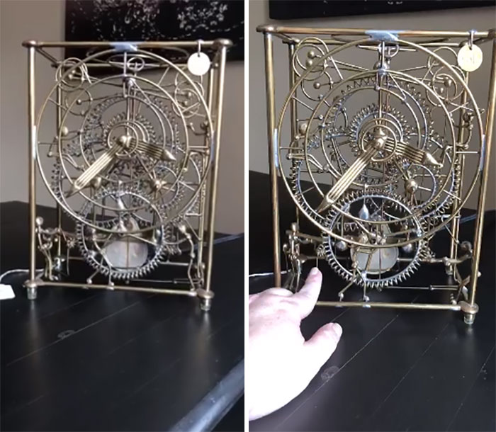 "It's A Kinetic ""Six Man Clock"" Sculpture By Gordon Bradt. It Looked Intricate And Artistic So I Did A Quick Google And Discovered There Are Two On Ebay Listed For $600 (Non-Functioning) And $1250. It Was $20!"