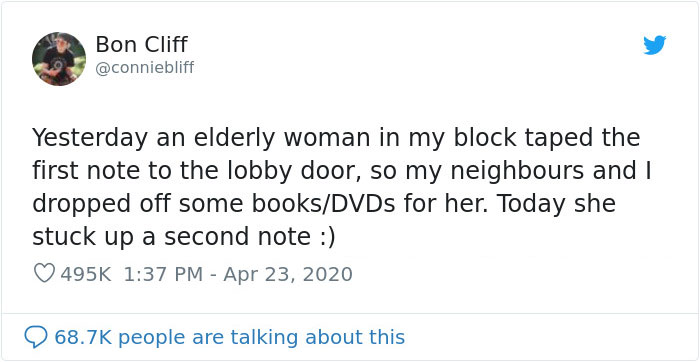 Non-Tech-Savvy Elderly Woman Asks Her Neighbors For Some Books Because She's Bored And Living Alone, They Deliver