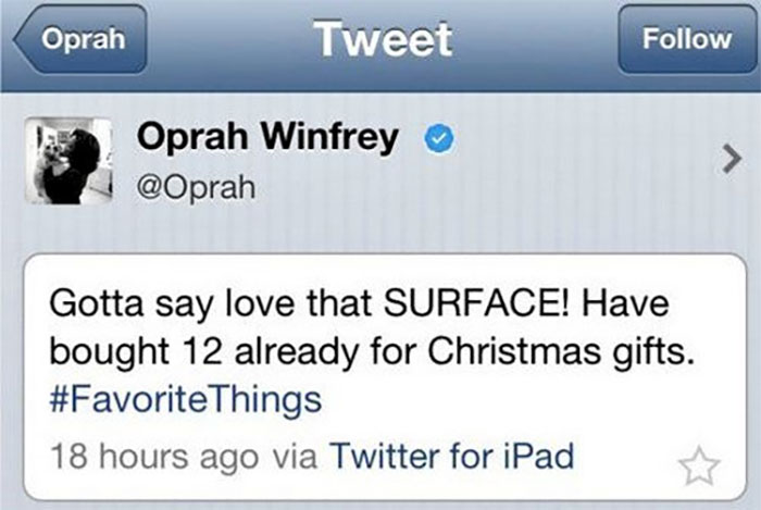 Oprah Made The Mistake Of Promoting The 'Microsoft Surface' While Tweeting From Her 'Apple' Device