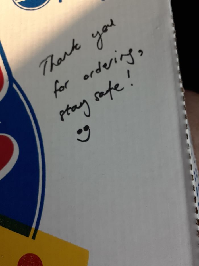 The Lady At Our Local Pizza Place Left This Message On Our Pizza!