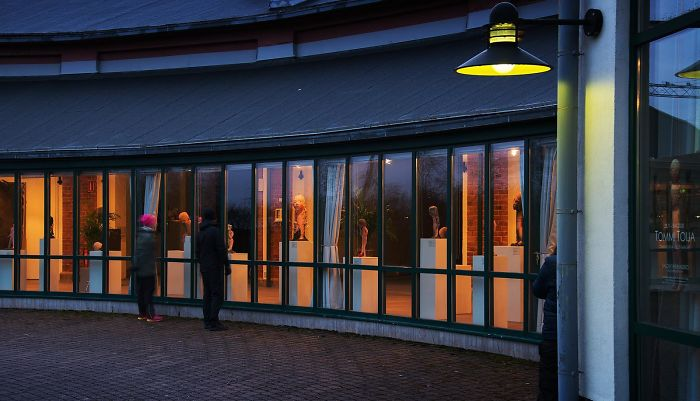 Art Museum That Was Closed Due To Virus Outbreak Rearranged Exhibition So It Can Be Seen From Outside - Day Or Night. Salo, Finland