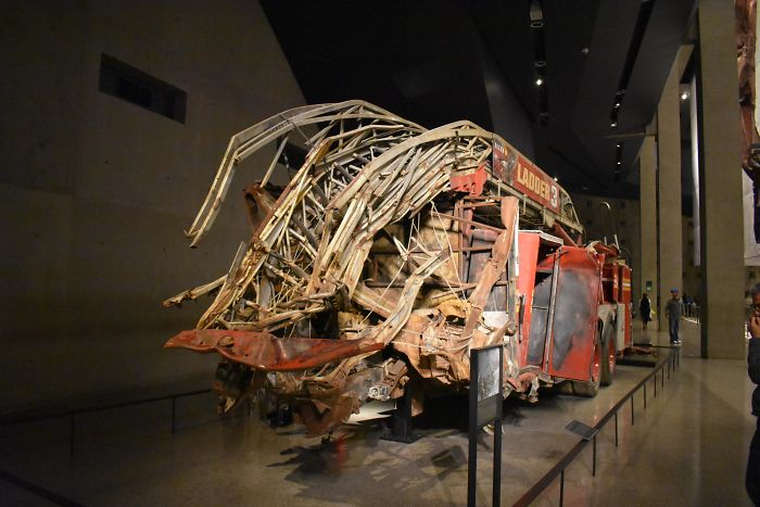 A Firetruck Crushed By The Collapsing Of The Twin Towers At The 9/11 Museum
