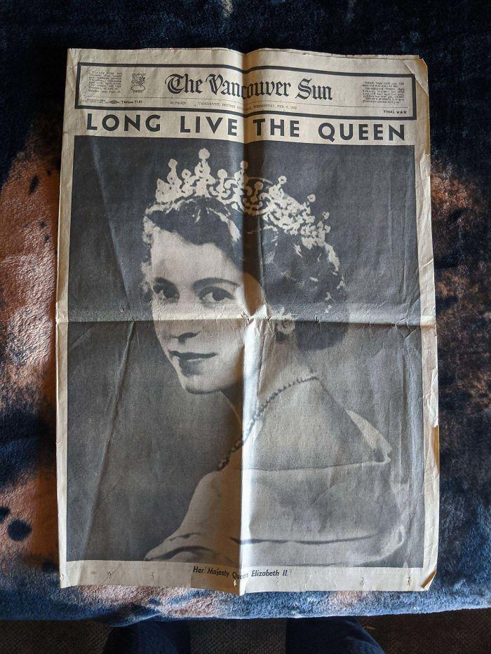 Found The Newspaper That Announced Elizabeth As Queen.