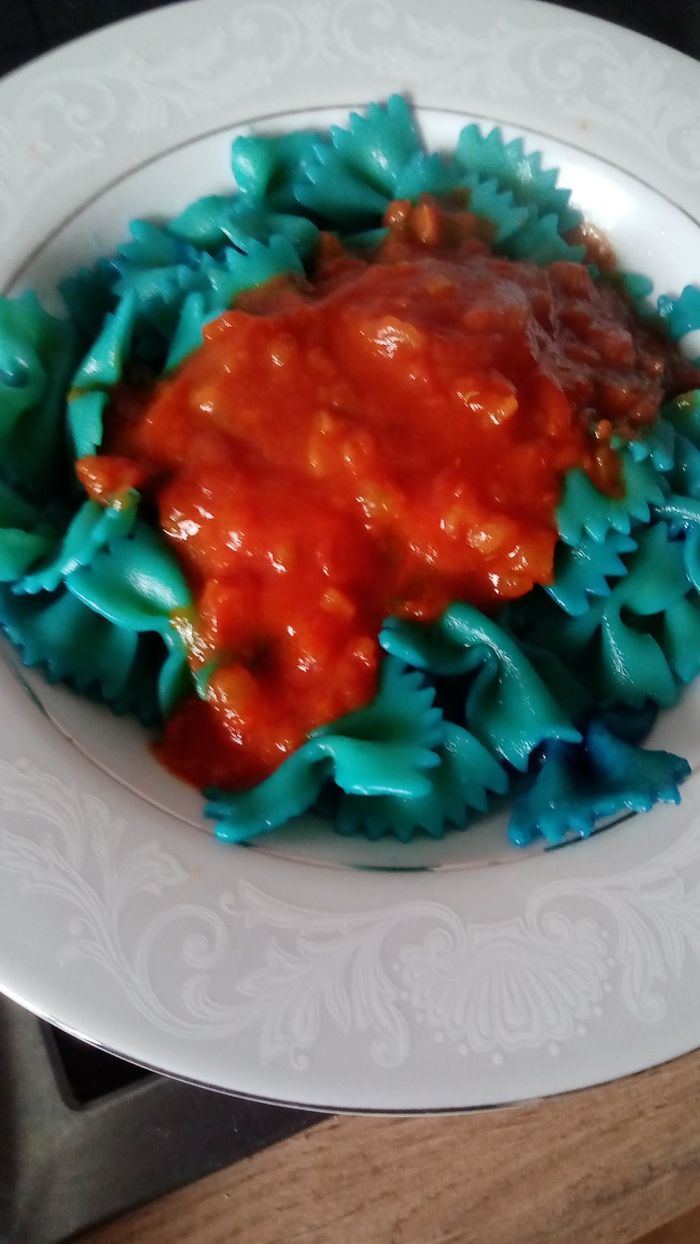 Blue Pasta For The Kiddos That Are Bored With The Regular Pasta. It Was A Hit