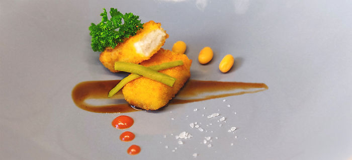 Fish Finger And De-Sauced Beans On A Bed Of H.P. Reduction