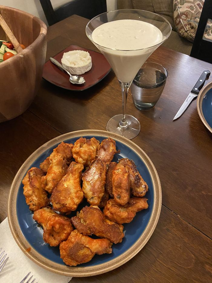 Archer Farms Buffalo Wings With Cocktail Glass Of Ranch Dressing. Pure C L A S S