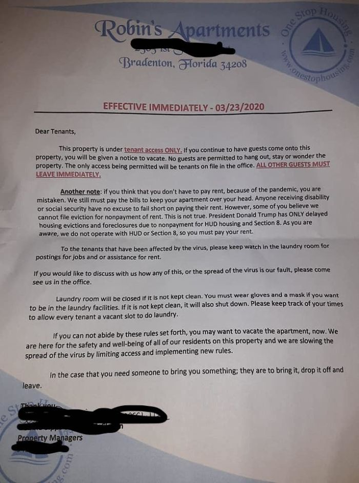 Letter To Tenants