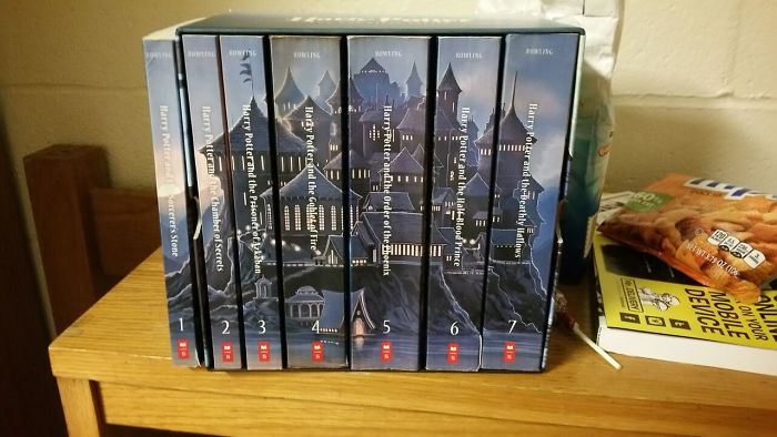 This Harry Potter Box Set Doesn't Fit All Of The Books If Any Of Them Have Actually Been Read Or Taken Out