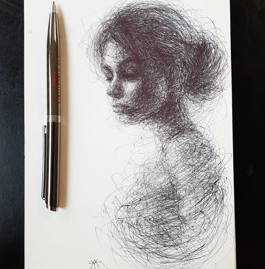 Self-Taught Artist Makes Amazing Female Portraits Based On Doodles