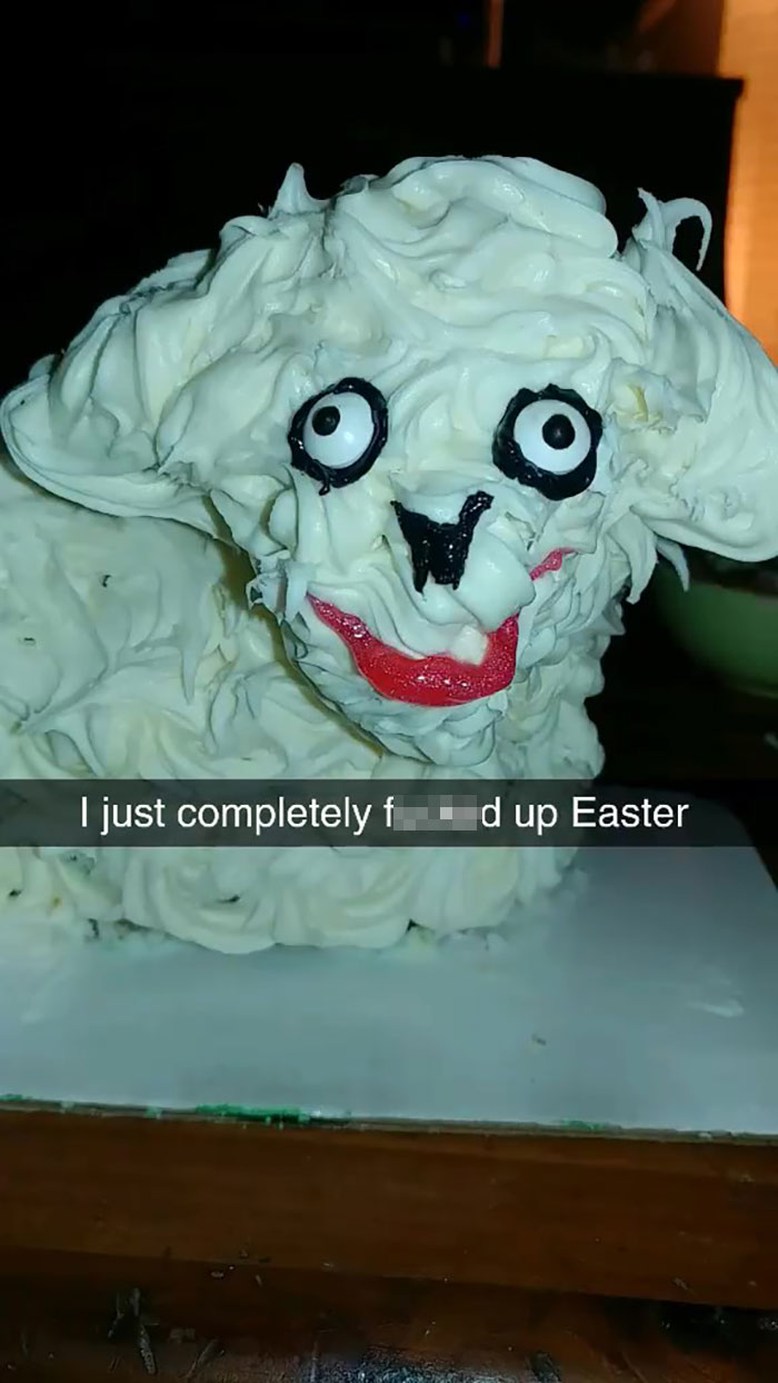 Woman Buys Ugly Lamb Cake And Decides To Fix It, Ruins Easter In The Process