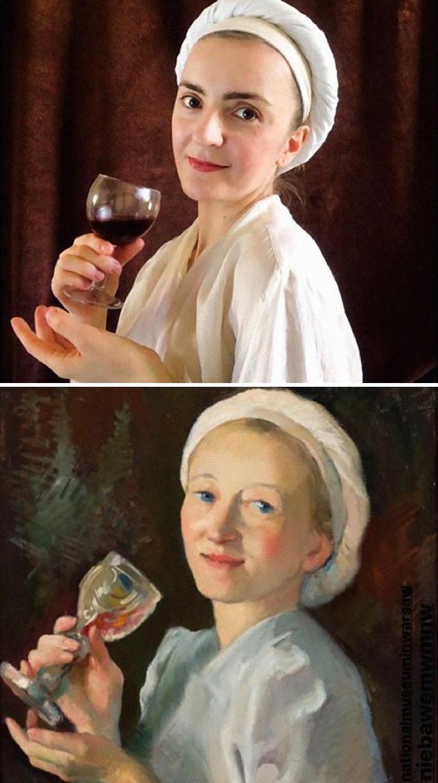 """Włodzimierz Bartoszewicz, """"A Woman with A cup of wine"""", 1938"""