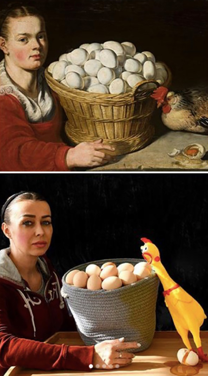 Painting of a girl with a basked of eggs, 17th century