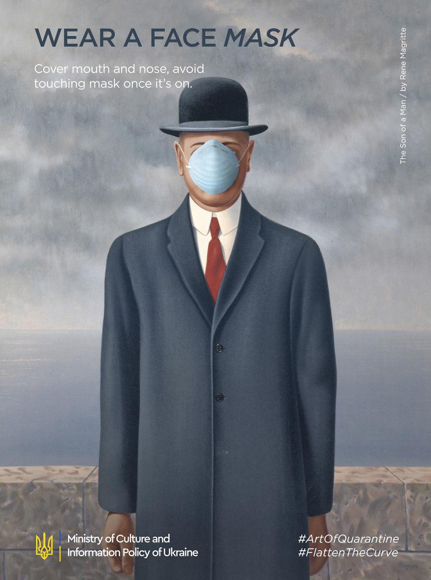 Adaptação de obras de arte famosas para alertar sobre a pandemia do coronavírus