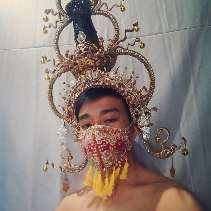 Keep Safe Everyone. Thailand Inspired Headdress And Mask Made By Hand