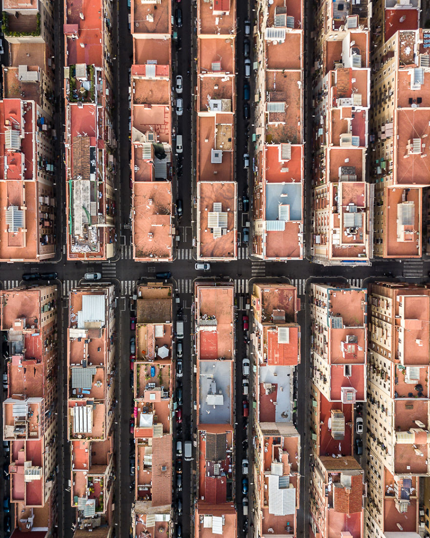 Drone Photography Captures Barcelona's Architectural Symmetry From Above