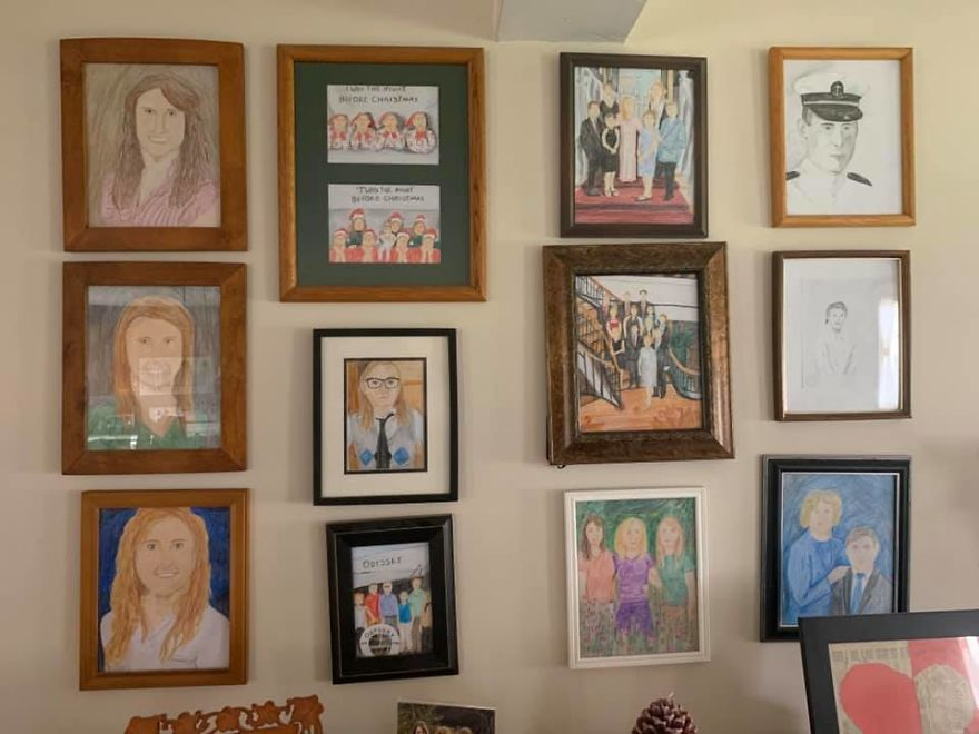 Daughter Replaces Family Photos With Crayon Drawings One By One, Parents Don't Notice For 11 Days
