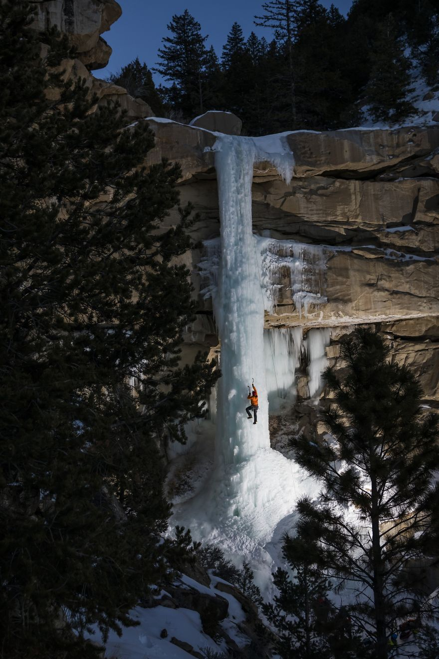 Frozen Water Creates A Path For Climbers