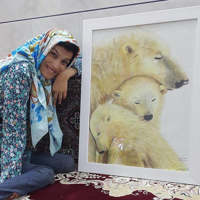 Disabled-Iranian-Artist-Draws-With-Feet-Fatemeh-Hammami-Nasrabadi