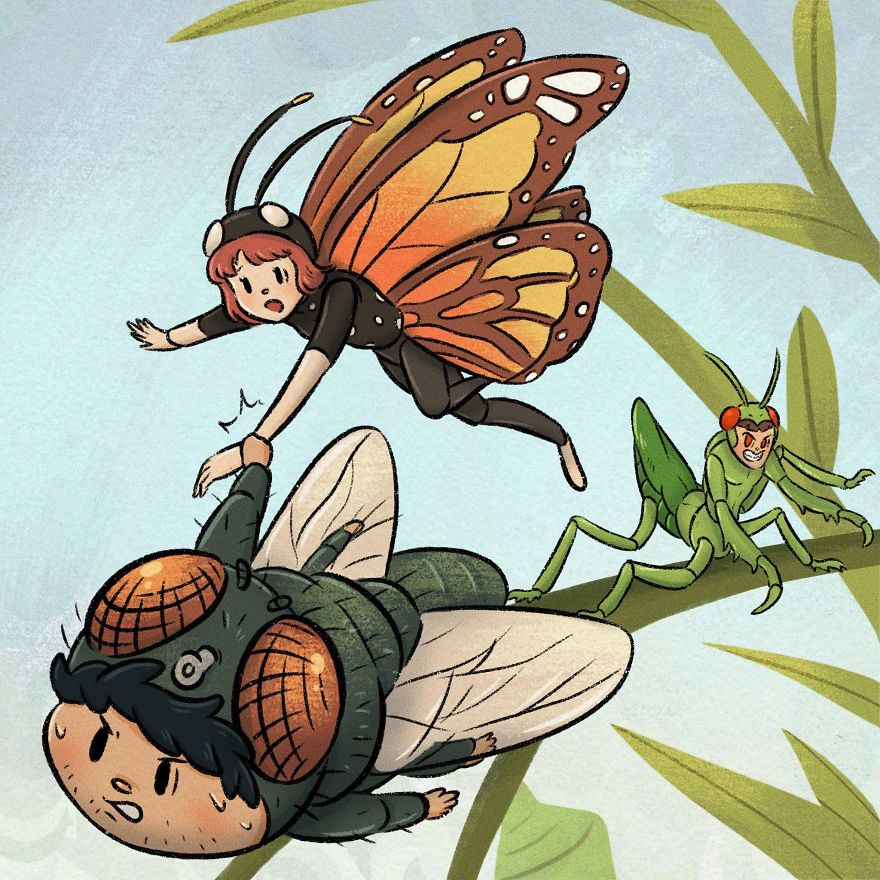 Thai Artist Illustrates A Thought-Provoking Story About A Butterfly And A Fly