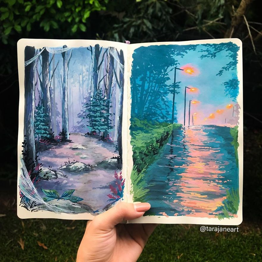 This Artist Creates Beautiful Paintings In Her Sketchbook Inspired By Nature