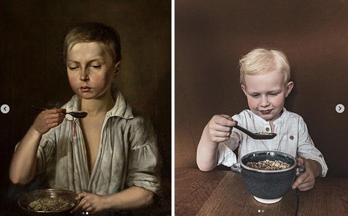 "Józef Simmler, ""Boy at breakfast"", around 1856"