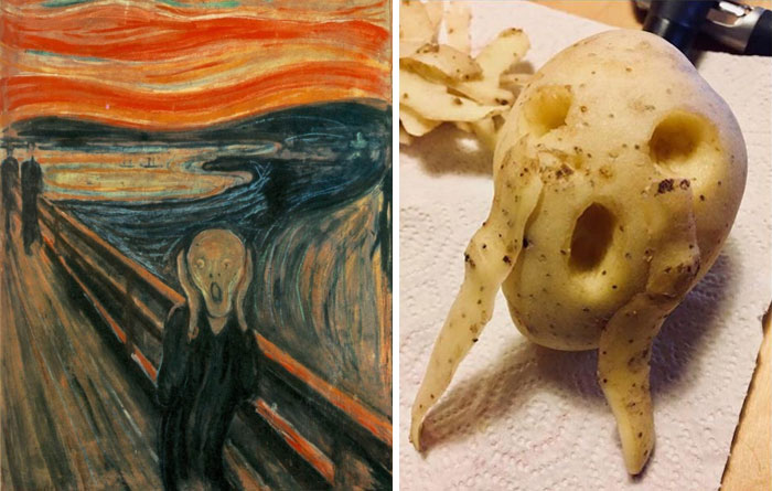 """The Scream"" By Edvard Munch. Right: A Recreation By Jean-Luc Walraff"