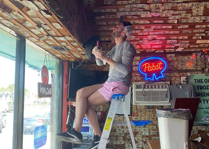 Bar Owner Removes $3,714 Worth Of Bills Stapled To The Walls To Pay Unemployed Staff