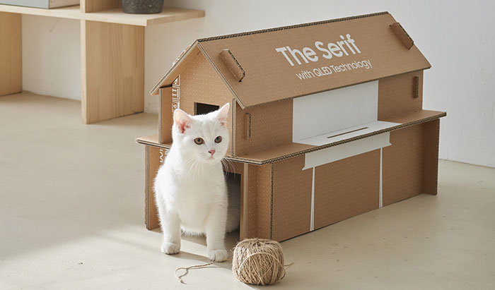 Samsung Presents Its New Sustainable Cardboard TV Boxes That Can Be Reused As Cat Houses And Other Things