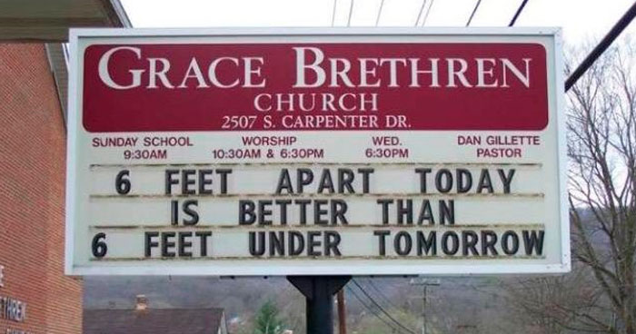 16 Funny Church Signs About Coronavirus