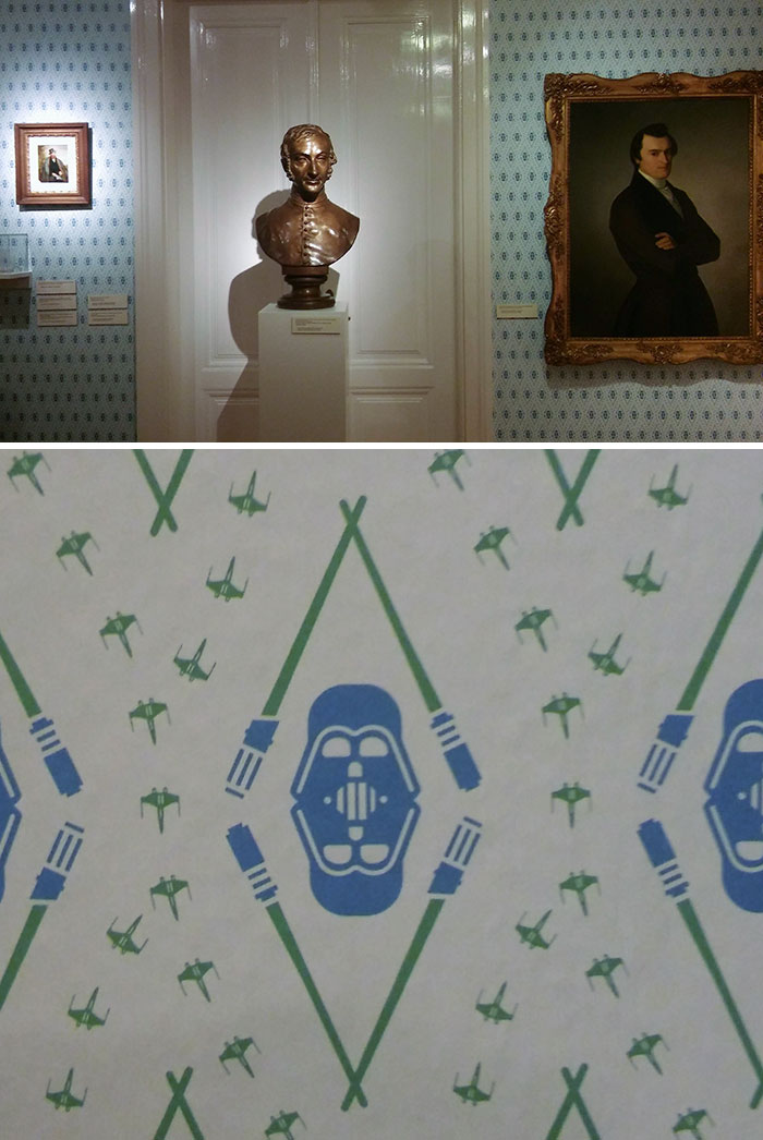 I Was At The National Gallery In Slovakia And Noticed They Use Star Wars Wallpaper On One Of The Walls In A 19th Century Art Exhibit