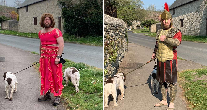 """My Mate Has Been Dressing Up Everyday To Cheer The Neighborhood Up While He Takes The Dogs Out"""