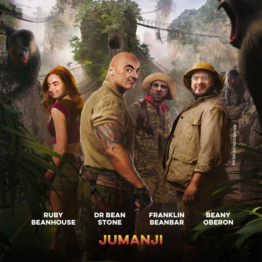 The Cast Of Jumanji As Mr. Bean