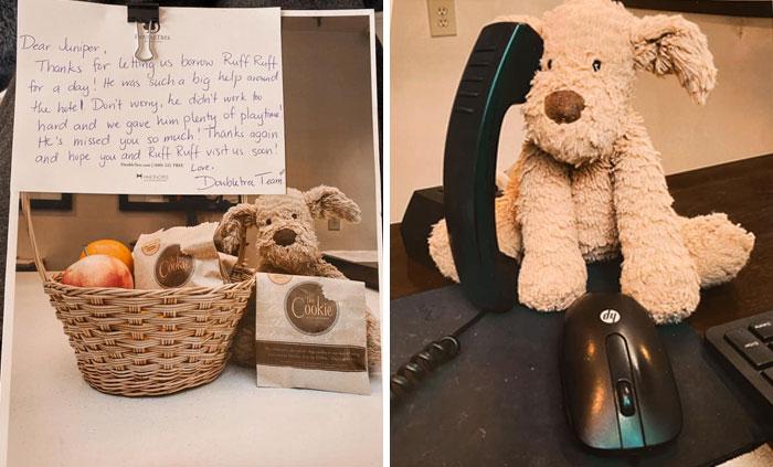 Esta niña de 2 años olvidó su querido peluche en un hotel, y el personal documentó sus aventuras antes de devolvérselo
