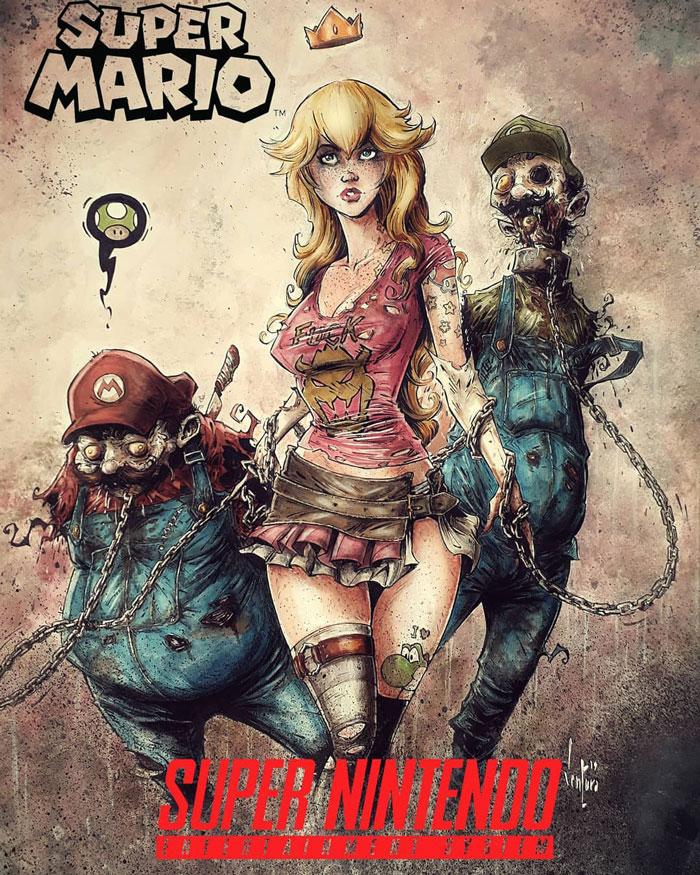 Princess Peach & Zombie Mario & Luigi