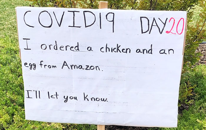 Guy Makes His Neighbors Laugh By Posting Dad Jokes Every Day Of Quarantine (7 Pics)