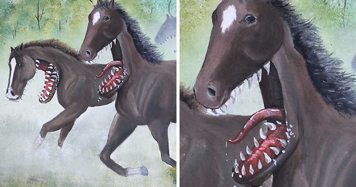 30 Thrift Shop Paintings Made Interesting Again With Funny Monsters By Chris McMahon
