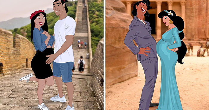 Artist Reimagines Disney Princesses As Pregnant Women And Gives Dad Bodies To The Princes