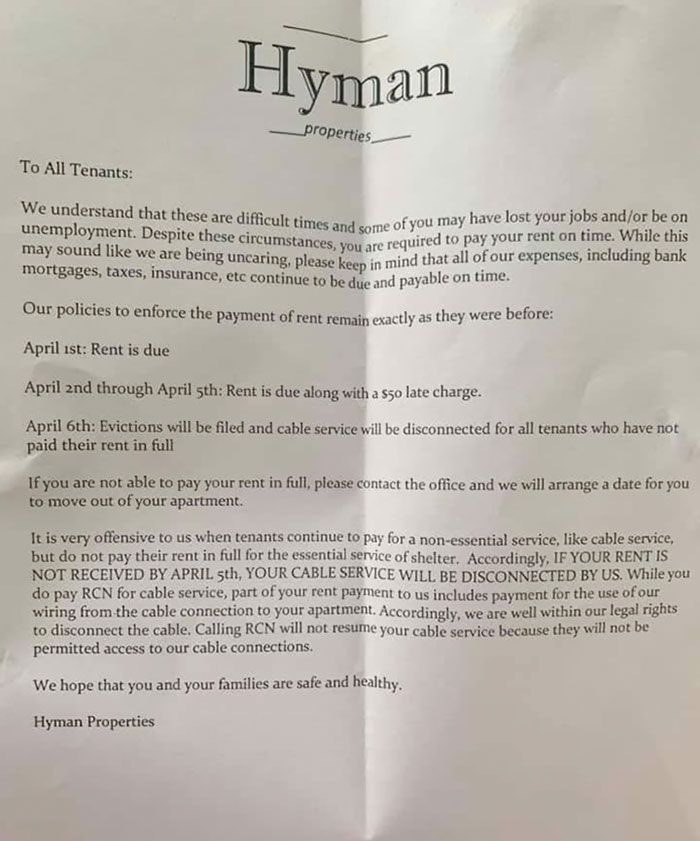 The Following Letter Has Went Out To Residents Of Hyman Properties