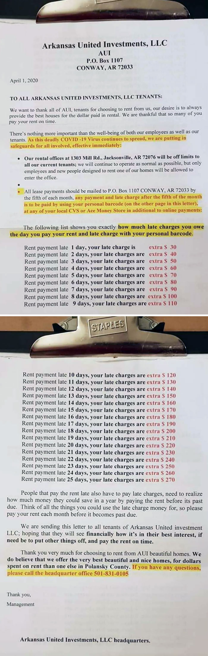 """Nope, This Wasn't An April Fool's Joke. Landlord's Still Charging Late Fees, Spelled The County Name And Several Other Words Wrong, And Is Even Asking For People To Pay Rent In Advance To """"Save Money"""""""