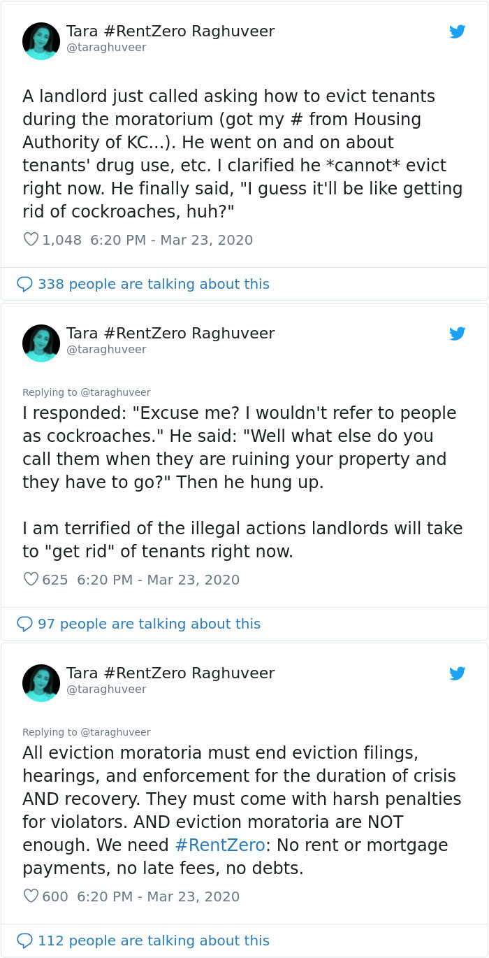 "A Landlord Figures They Will Have To Evict Their Tenants ""Like Cockroaches"" During The Quarantine-Related Eviction Moratorium"