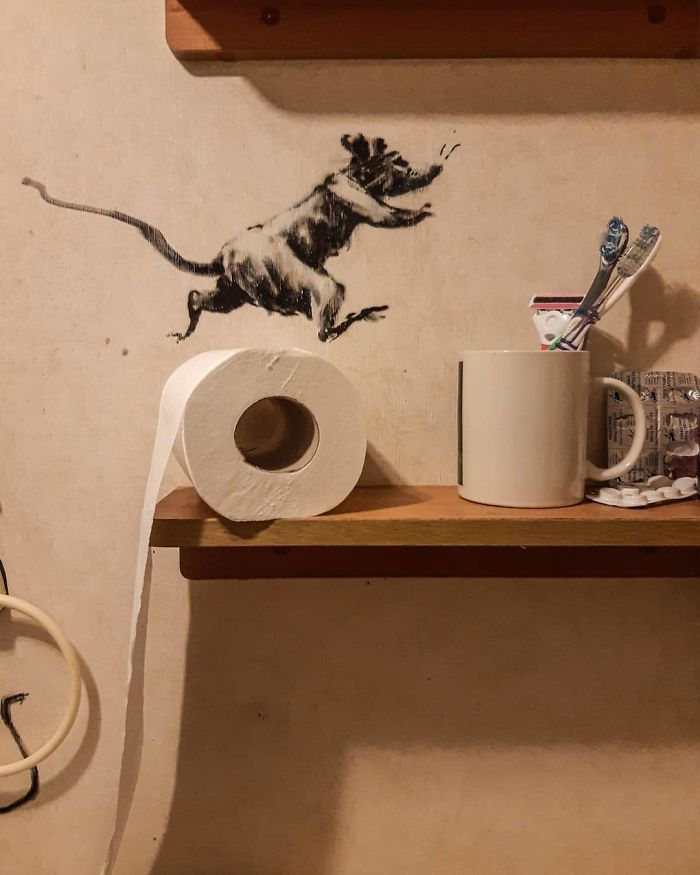 """""""My Wife Hates It When I Work From Home"""", Banksy Reveals His Newest Work On Instagram"""