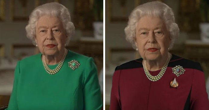 The Queen Of England Gives A Speech In A Green Dress And The Photoshoppers Know What To Do (35 Pics)