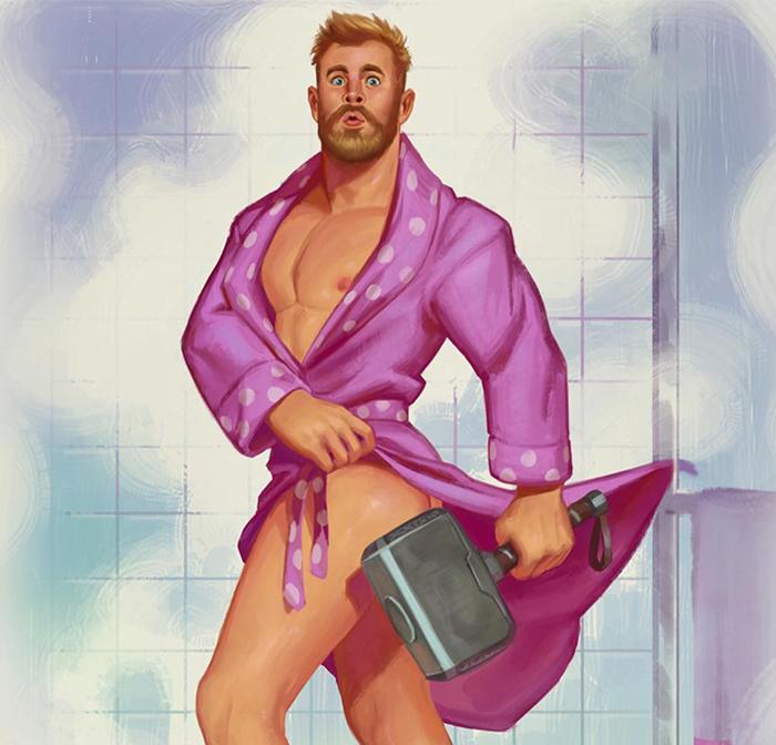 Este artista dibuja a superhéroes masculinos como modelos pinup, y las copias se venden como churros