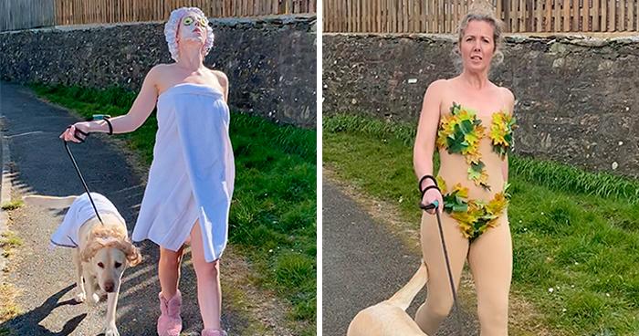 Esta mujer lleva curiosos disfraces para pasear a su perro durante la cuarentena, y el pobre parece avergonzado (8 fotos)
