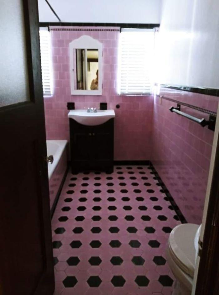 My Parents Pepto Bismol Bathroom