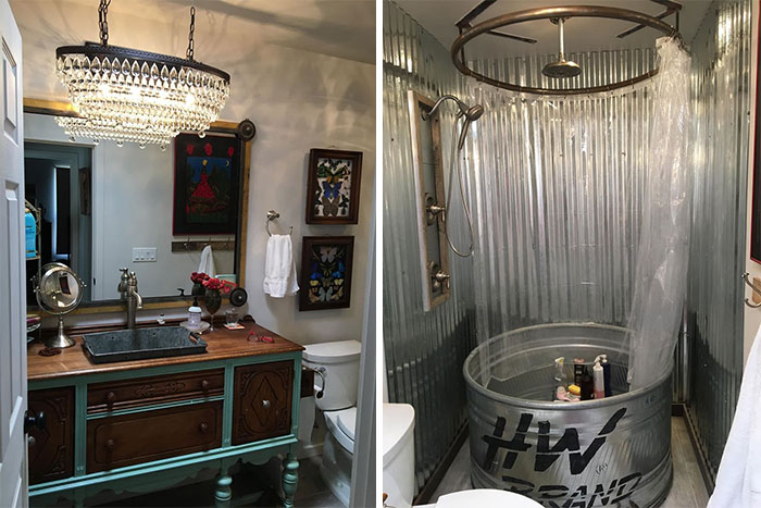 It All Started With The Antique Galvanized Wash Tub Found In A Junk Store That I Turned Into A Sink Set In My Old Dining Room Buffet Now Repurposed As A Vanity