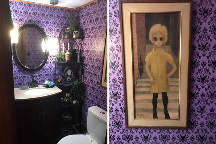 This Is My Lavender Bathroom. The Waif By Keane Is One Of My Favorite Thrifting Finds. One Of My Sons Says She Stares Right Through His Soul. I Had No Idea Where I Was Going To Put Her Until We Redid This Bathroom