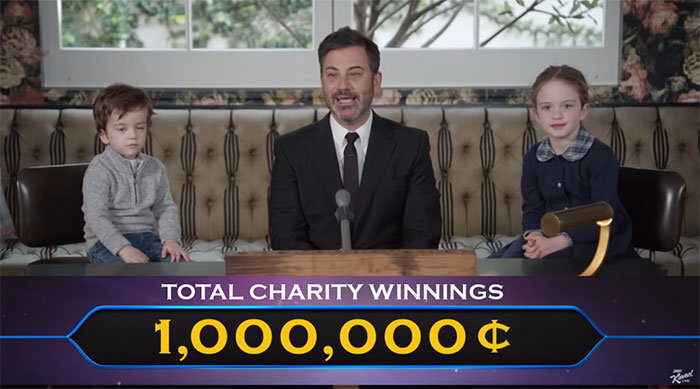Jimmy Kimmel Hosts 'Who Wants To Be A Millionaire' For His Two Kids And Billy Adorably Loses His Patience